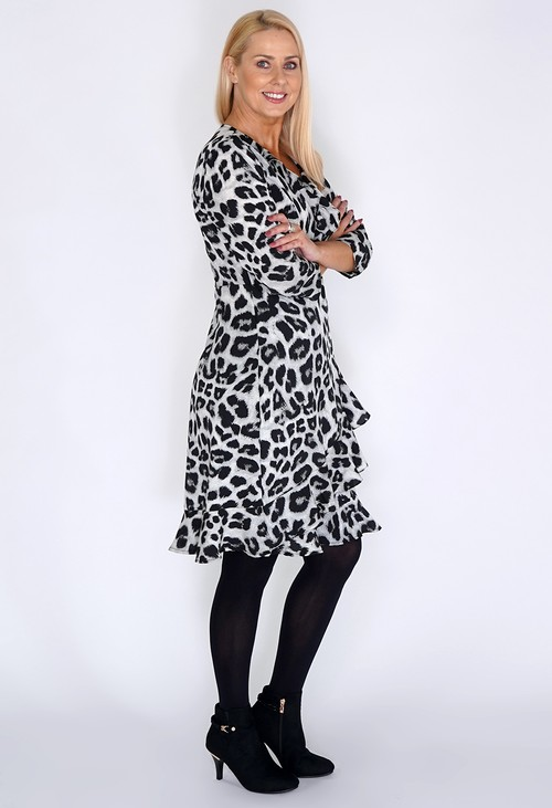 Pamela Scott Grey Leopard Print Dress with Ruffle Details