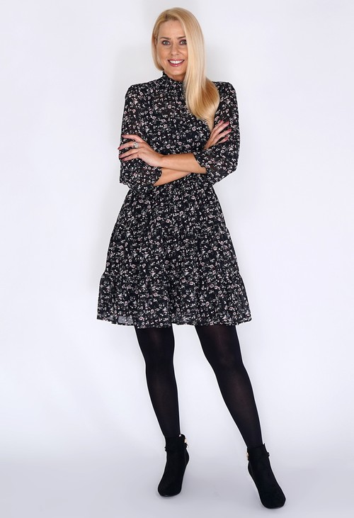 Pamela Scott Black Frill Dress with Bloom Print