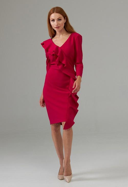 Joseph Ribkoff Peony Side Frilled Long Sleeve Dress