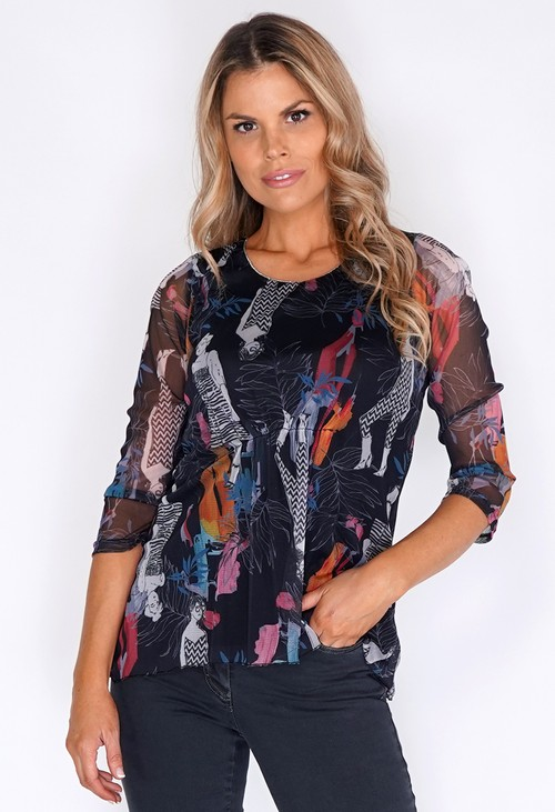 Sophie B Woman Print Black Top