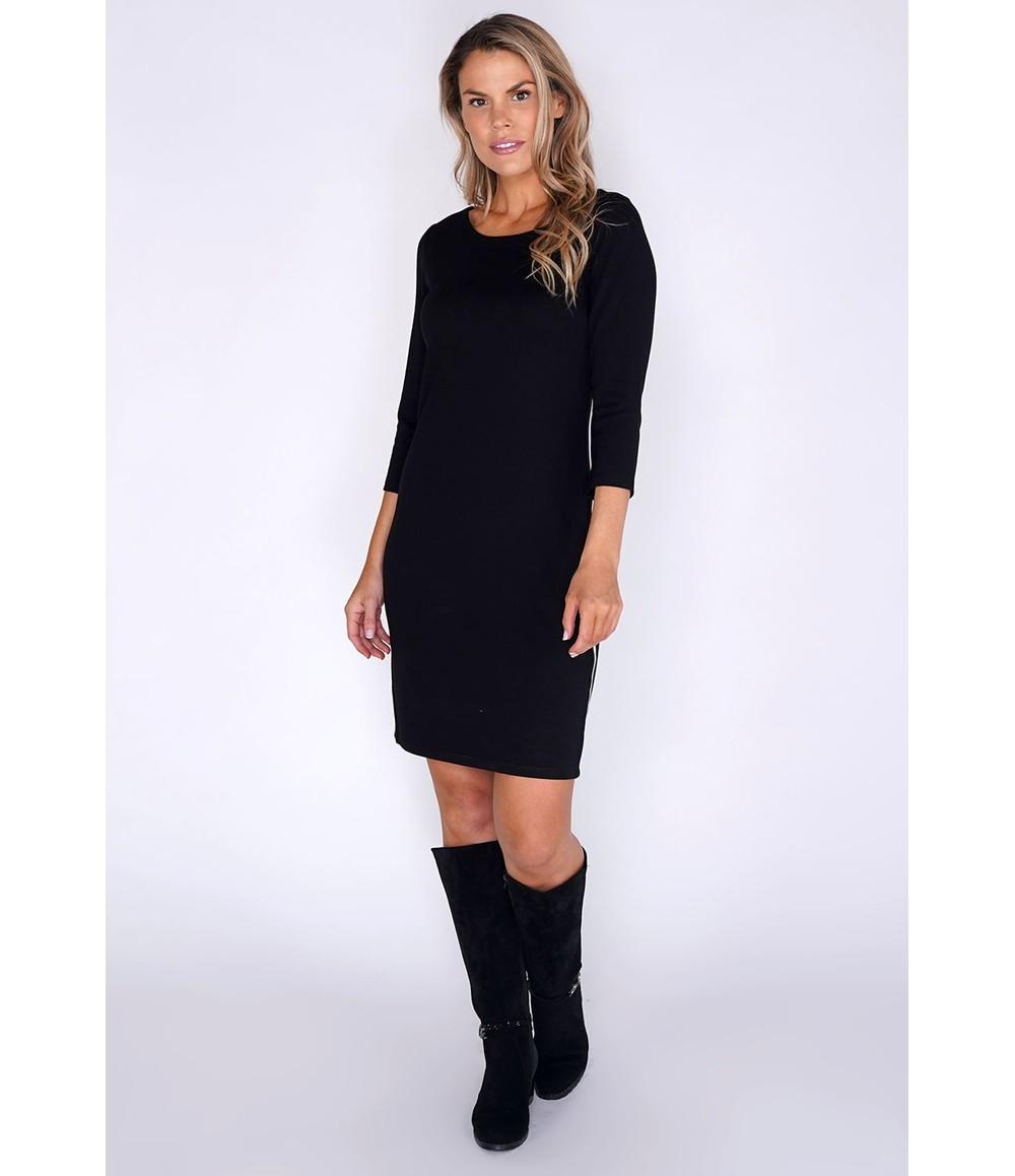 Opus Black Midi Dress with white Stripe