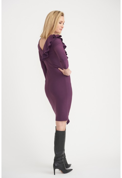 Joseph Ribkoff Amethyst Side Frilled Long Sleeve Dress