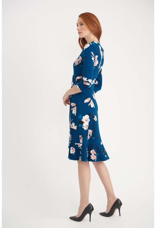 Joseph Ribkoff Floral Teal Dress