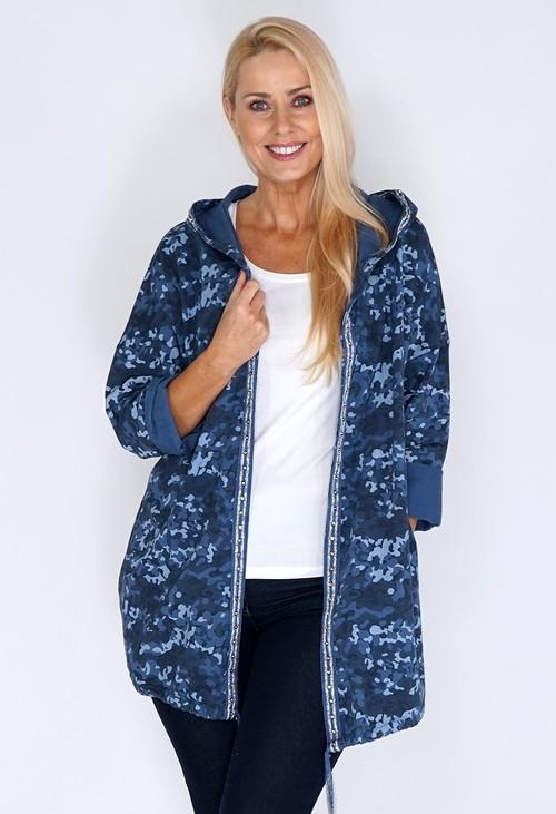 Pamela Scott Navy Camouflage Coat with Diamante Details