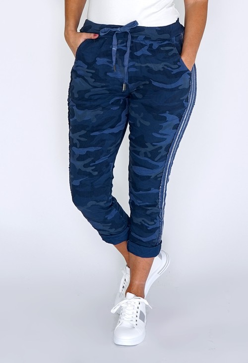 Pamela Scott Navy Camouflage Joggers with Silver Glitter Stripes