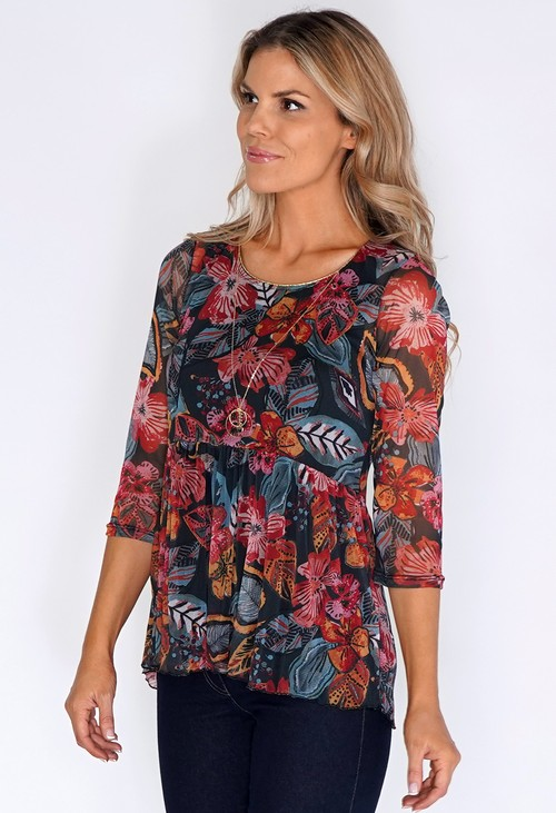 Sophie B Green/Red Floral Top with Sheer Sleeves