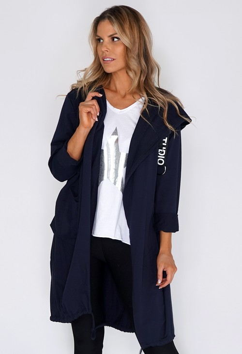 Pamela Scott Navy 3/4 Length Coat with Back Circle Print