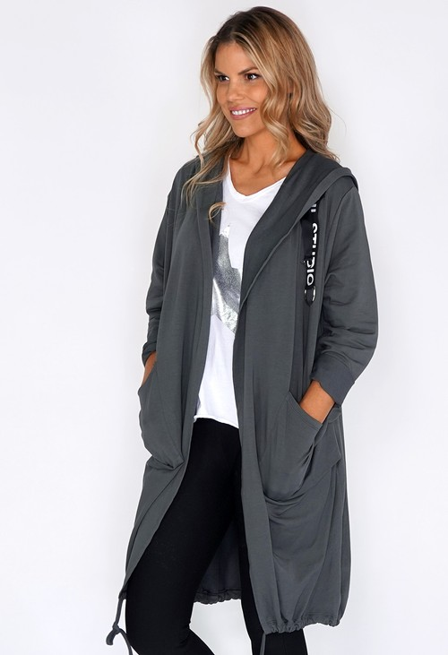 Pamela Scott Grey 3/4 Length Coat with Back Circle Print