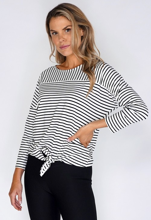 Opus White Striped Tie Top
