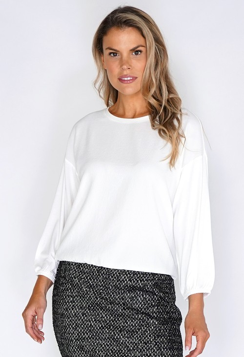Opus Off White Textured Blouse