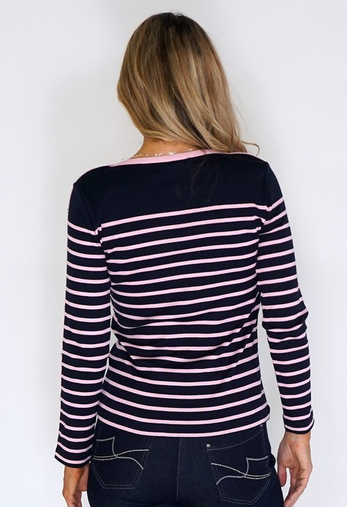 Twist HERITAGE STRIPE MIX TOP WITH SLEEVE DETAIL