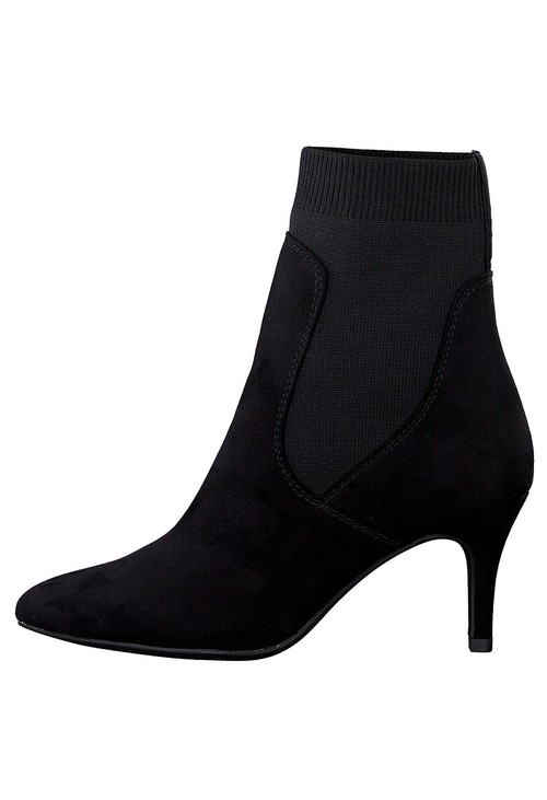 Marco Tozzi Black Microfibre Sock Boot