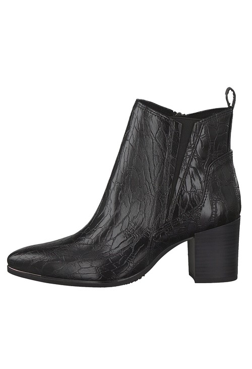 Marco Tozzi Black Croc Print Ankle Boot