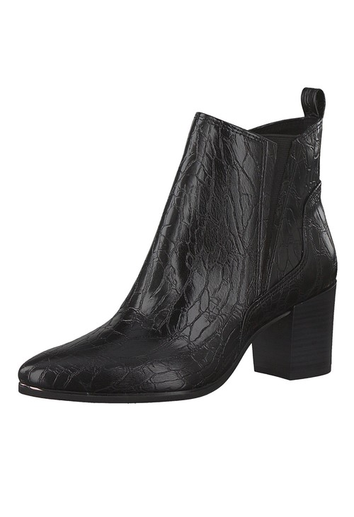 Marco Tozzi Black Croc Print Ankle Boot