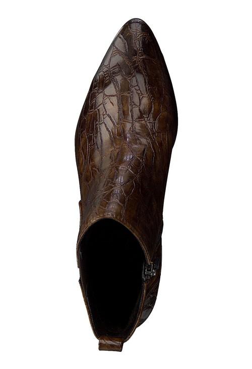 Marco Tozzi Cognac Croc Print Ankle Boot