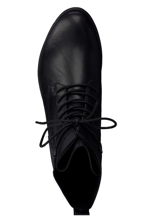 Marco Tozzi Black Faux Leather Laced Ankle Boot