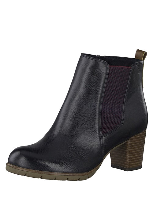 Marco Tozzi Navy Leather Look Ankle Boot