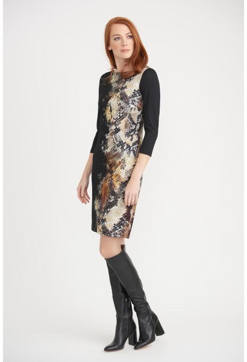 Joseph Ribkoff Black Snakeskin Print Dress