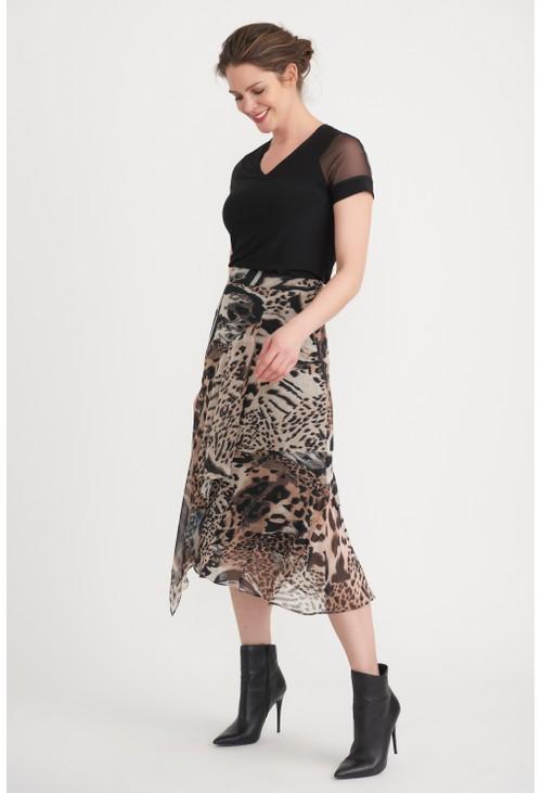 Joseph Ribkoff Beige Flowing Leopard Print Midi Skirt