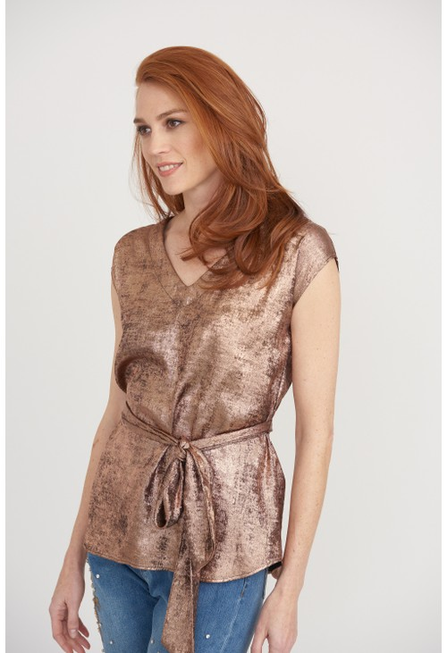 Joseph Ribkoff Rose Gold Tie Top