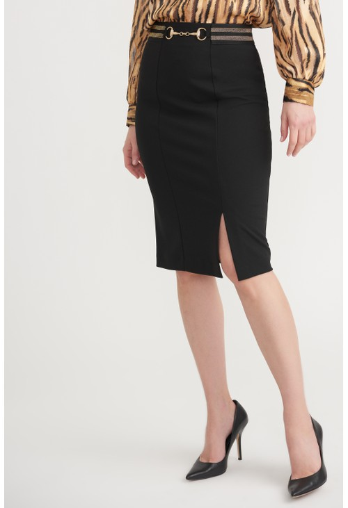 Joseph Ribkoff Black Pencil Skirt with Gold Clasp