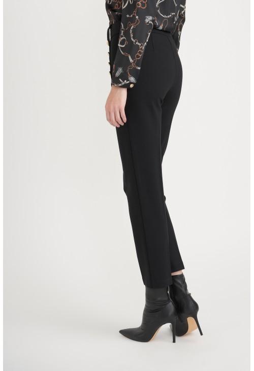 Joseph Ribkoff Black Front Gold Button Trousers