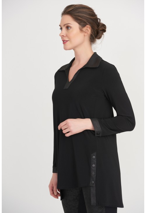 Joseph Ribkoff Black High-Low Hem Tunic