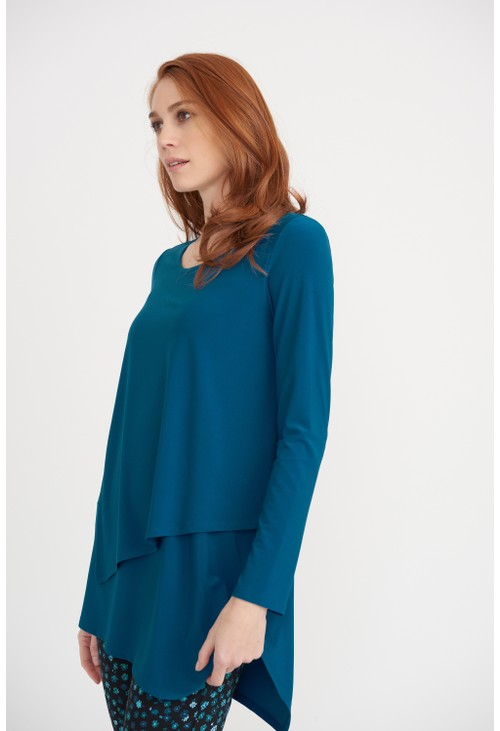 Joseph Ribkoff Peacock Layered Tunic