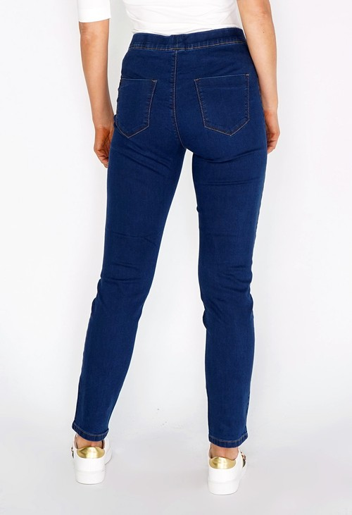 Twist Navy Pull On Jeans with Copper Stitching