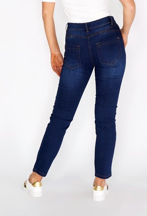 Twist Stone Washed Dark Blue Jeans with Copper Stitching