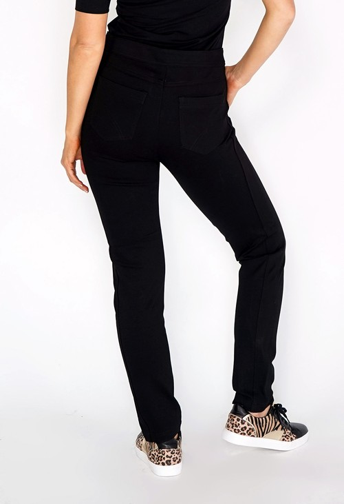 Zapara Black Double Button Trousers