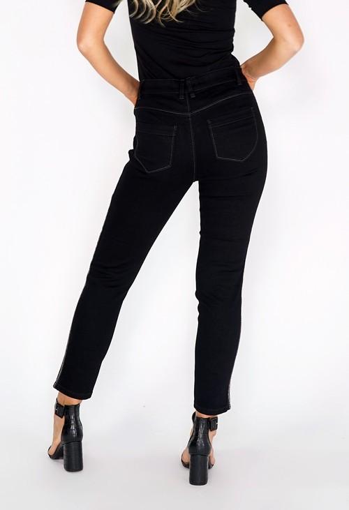 Zapara Black Side Glitter Plait Straight Leg Jeans