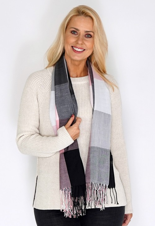 Pamela Scott Grey and Pink Checked Scarf with Tasselled Ends