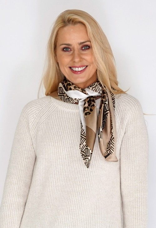 Pamela Scott Gold Silk Feel Leopard Print Square Scarf