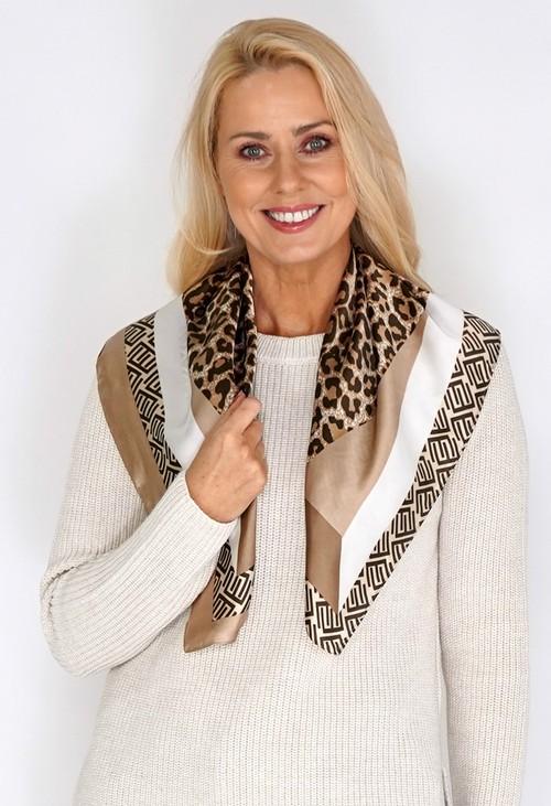 Pamela Scott Gold Silk Feel Leopard Print Square Scarf