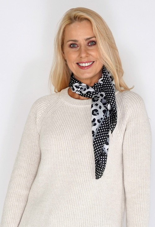 Pamela Scott Light Grey Leopard Spot Print Square Scarf