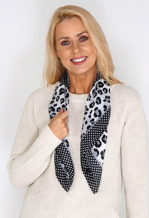 Pamela Scott Light Grey Leopard Spot Print Square Scarf