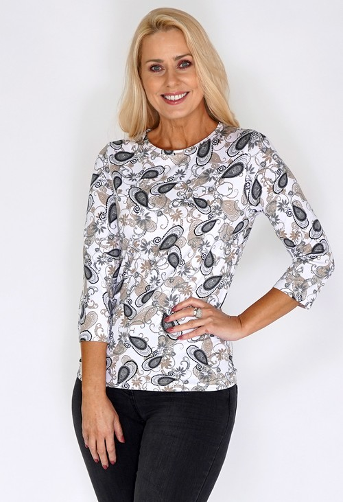 Bicalla White Top with Sand Paisley Print