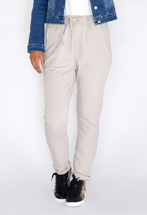 Zapara Cream Joggers with Turned Up Leg