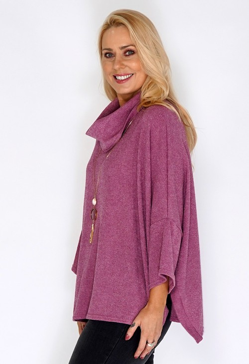 Sophie B Pink Oversized Batwing Knit Jumper with Necklace Detail
