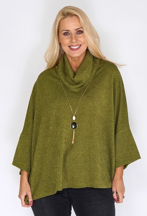 Sophie B Green Oversized Batwing Knit Jumper with Necklace Detail