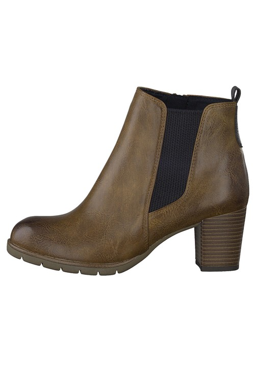 Marco Tozzi TAN  LEATHER LOOK ANKLE BOOT