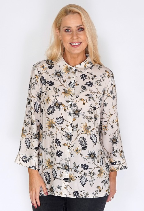 Bicalla Flower Print Beige Blouse