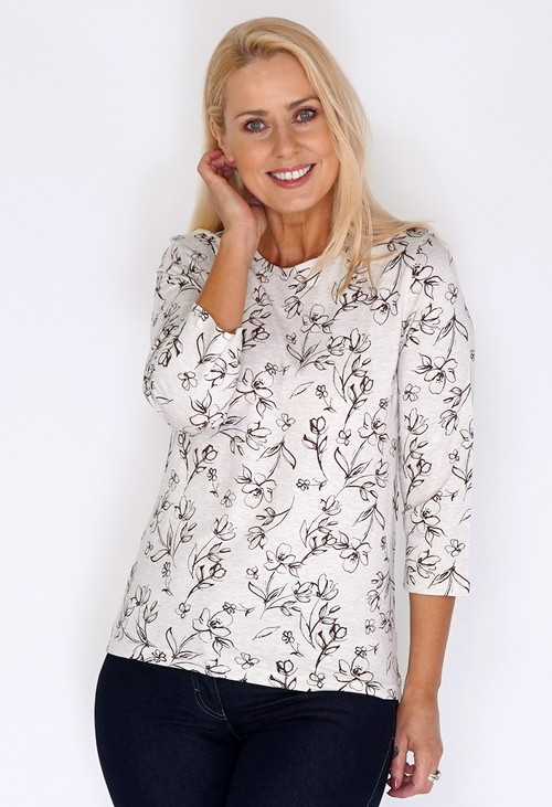 Bicalla Sand Top with Flower Print