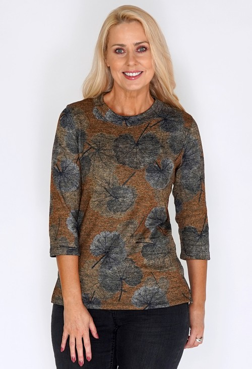 Bicalla Autumnal Pressed Leaf Print Pullover