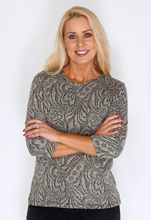 Bicalla Sand Abstract Butterfly Print Knit Jumper