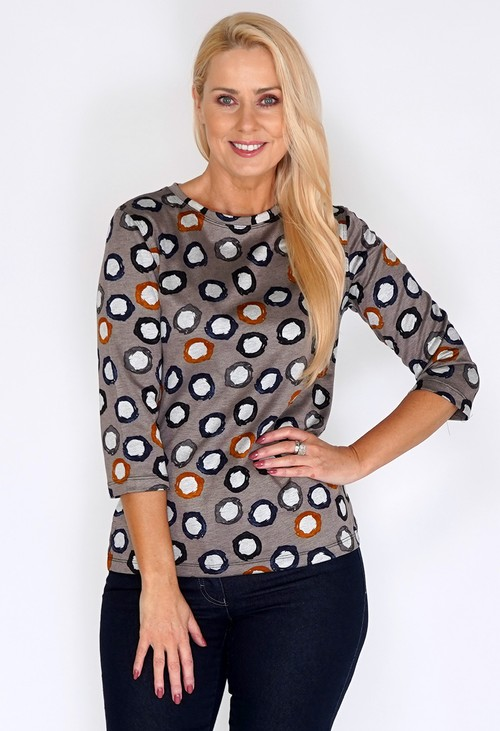Bicalla Taupe Coloured Spot Print Top