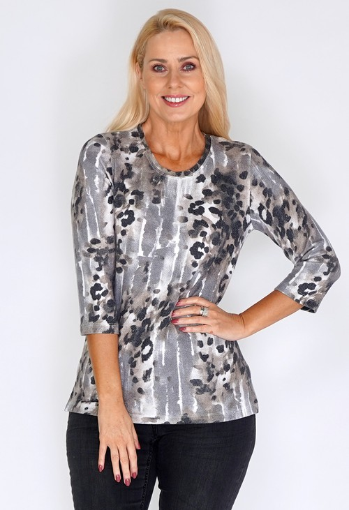 Bicalla Sand and Grey Water Leopard Print Knit Top