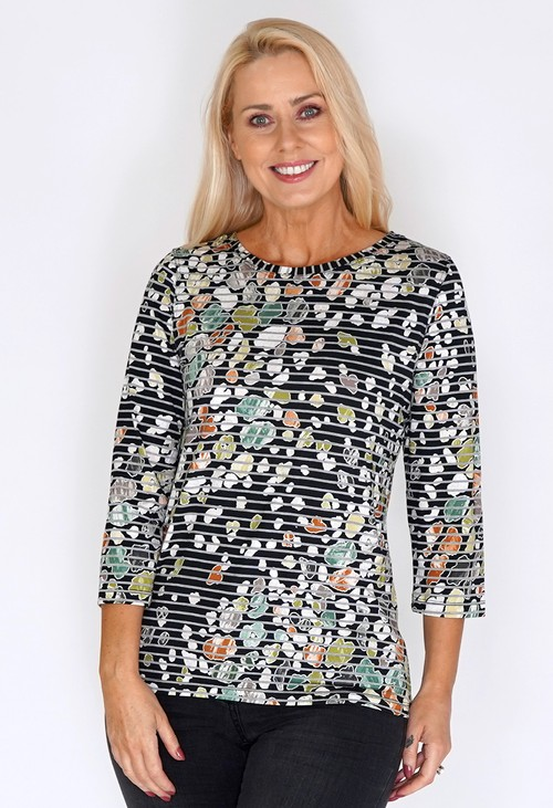 Bicalla Black Striped Top with Multi Print