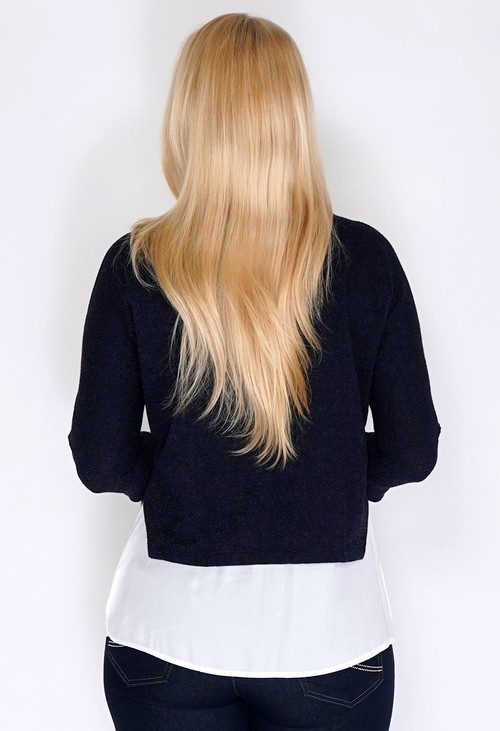 Sophie B Navy Knit Pullover with Shirt Details and Necklace